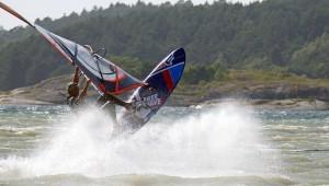 Team rider and senior partner at Wave Action Christer Holm splashing of joy